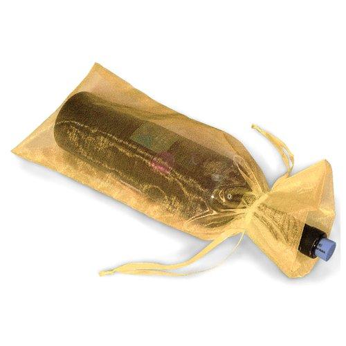 10x Sacchetti regalo per bottiglie di vino in organza per regali matrimoni feste, colore: oro