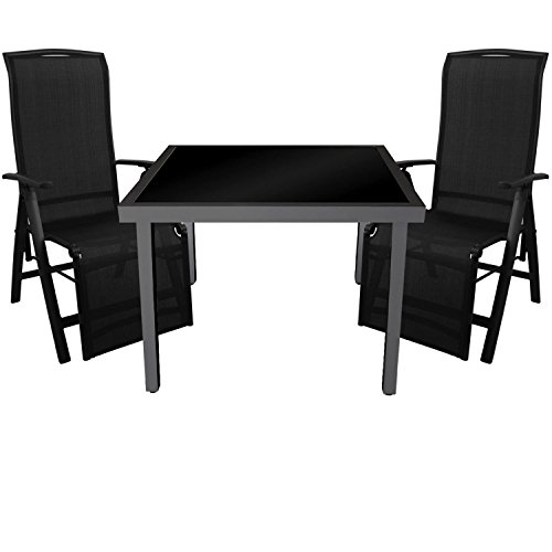 Multistore 2002 3tlg. Gartengarnitur Glastisch 90x90cm Tisch mit schwarzer Glasplatte inkl. schwarzer Klappsessel mit 2x1 Textilenbespannung 5-Fach verstellbar Gartenmöbel Set
