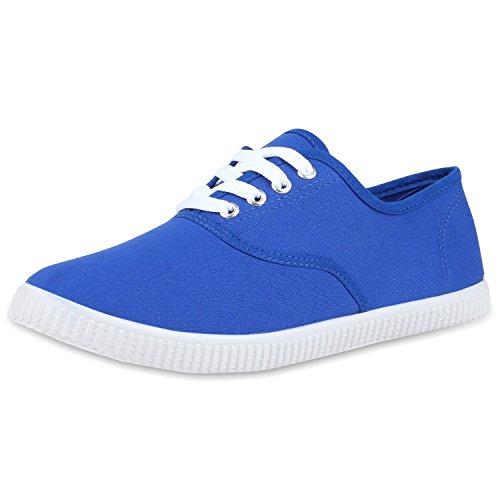 napoli-fashion Damen Sneakers Freizeit Schuhe Stoffschuhe Jennika Blau Blue