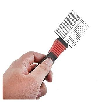 Peigne de toilettage - SODIAL(R)Peigne de manche en metal avec dents double face pour chien chat animaux de compagnie brosse rateau outil de toilettage rouge et noir