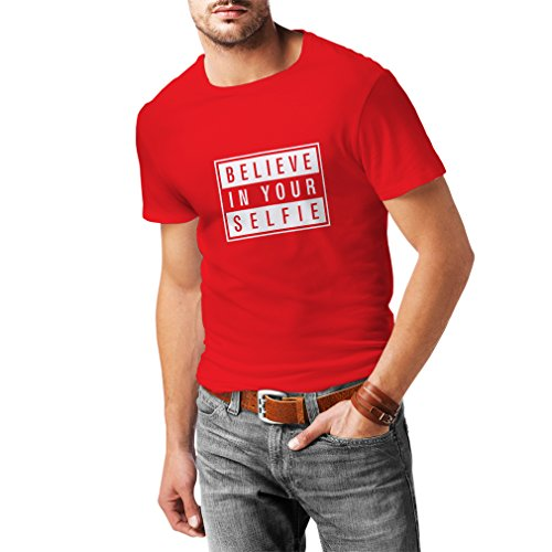 N4156 Believe in your Selfie funny gift, t-shirt Rot Weiß