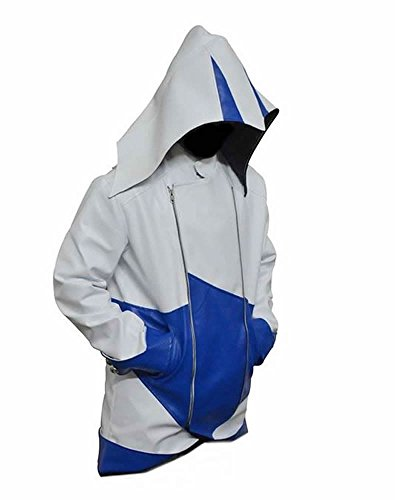 Classyak Assassins Creed Herrenjacke Faux White and Blue