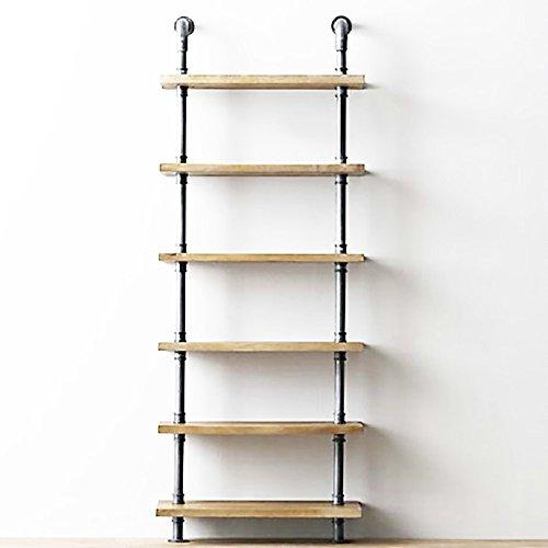 Industrielles Wind-Holzplatten-Wasserrohr, Lagerregal-Wand-Klempnerarbeit-Wand-Berg Wand-angebrachtes Bücherregal 1-2-3-4 Lagerregal 6 Fuß-Landungs-Klempnerarbeit-Regal-Dekoration-Ausstellungsstand ( stil : 6 Floor-60W ) (3 4 Eisen-rohr-flansch)