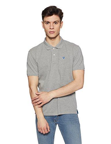 Allen Solly Men's Plain Regular Fit Cotton Polo (AMKP317G04246!_Grey Melange!_Large)