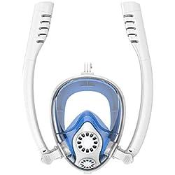 Zay Snorkel Mask Masque de plongée facial intégral Respiration libre anti-buée et anti-fuites Double tube étanche pour la natation Plongée en apnée Sports avec support pour appareil photo pour adultes