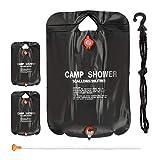 Relaxdays 3 x Campingdusche 20 l im Set, Solardusche Camping, zum Aufhängen, faltbar, mit Handbrause, Mobile Außendusche, schwarz