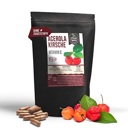 Acerola 120 Kapseln | 500mg pro Kapsel | natürliches & unbehandeltes Vitamin C | vegan & ohne Zusätze (120)