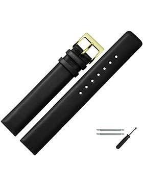 Uhrenarmband 18mm Leder schwarz XL, glatt - inkl. Federstege & Werkzeug - extra langes, Ersatzarmband - Lederband...