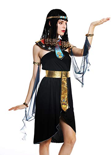 dressmeup - W-0264-M/L Costume Donna Carnevale Halloween Egiziana Cleopatra Donna Faraone Nero Taglia M/L