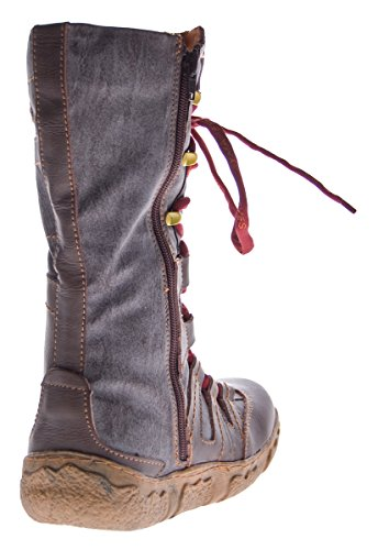 Winter Leder Stiefel Damen Schuhe gefüttert Schwarz Braun Grün Winterstiefel im used Look TMA 7057 Braun