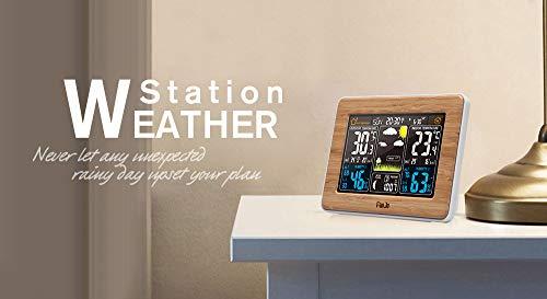 FanJu fj3365 Digitale Wetterstation mit Feuchtigkeitssensor, Temperatur und Barometer Tischuhr mit Wettervorhersage, Alarm und LED 125mm 165mm 55mm Schwarz