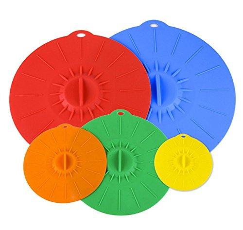Silikon-Deckel 4,6, 8, 10, 12 Zoll. Verwenden Sie Ihre Saugdeckel für Ihre Schüsseln, Tassen, Töpfe, Pfannen und Skillets. Mikrowelle und Lebensmittel Safe Covers. Kostenlose Premium Silikon Pinsel. (Große Mikrowelle Cover)