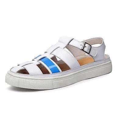 Herren Sandalen Round Toe/Sandalen Leder Casual flachem Absatz Andere Schwarz/Weiß zu Fuß White