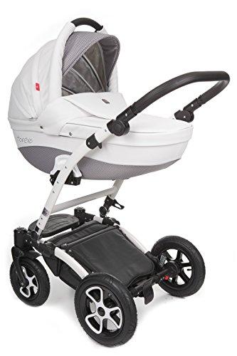 True Love Torero Eco Leder Kinderwagen Komplettset (Autositz & Adapter, Regenschutz, Moskitonetz, Schwenkräder) TOECO7 White & Pepitka Grey