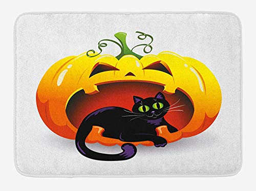 (VTXWL Pumpkin Bath Mat, Vibrant Black Cat Lies on The Mouth of The Jack o Lantern Halloween Themed Image, Plush Bathroom Decor Mat with Non Slip Backing, 23.6 W X 15.7 W Inches, Multicolor)