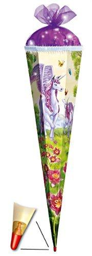 3 - D Schultüte - Einhorn 85 cm 6 eckig - mit Holzspitze / Tüllabschluß und Glitzer - Zuckertüte Roth Einhörner Pferd Pferde Tier Tiere Blumen Blume Unicorn
