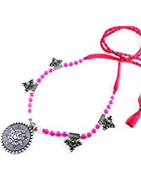 Oxidised German Silver/fashion/Antique/new Design Jewellery Pink Necklace Set For Women And Girls
