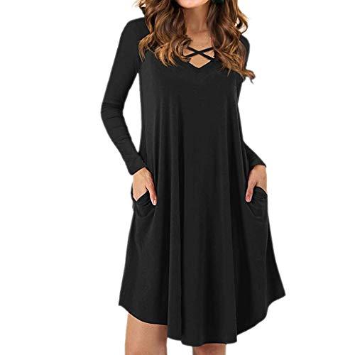 B-commerce Frauen Criss Cross Kleid - Langarm Swing Hem V-Ausschnitt Sexy Kleider mit Taschen
