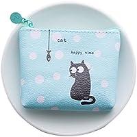 Dosige 1PCS Mujer Mini Cartera,Monedero con Cremallera,Bolso de Llave,patrón gato negro,azul,10x9x2cm
