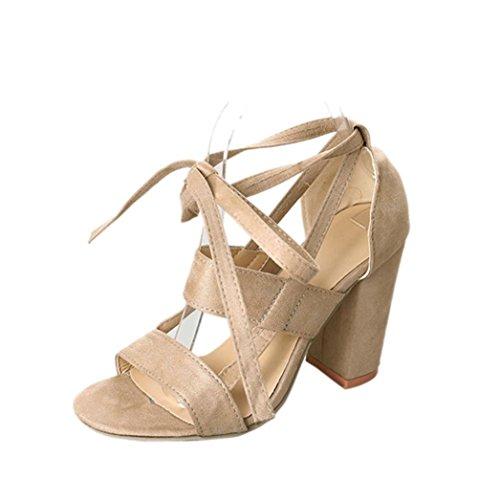 Sandalias mujer, Manadlian Moda Sandalias de mujer Tobillo Tacones altos Fiesta en la calle Zapatos con punta abierta día de San Valentín (CN:40, Beige)