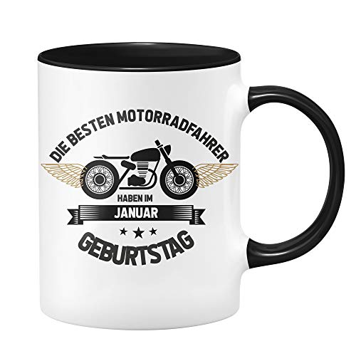 Motorrad Tasse - Die besten Motrradfahrer haben im Januar Geburtstag - Geschenk für Motorradfahrer, Motorradfans - Geburtstagsgeschenk, Geschenkideen für Männer - Monat wählbar (Januar)