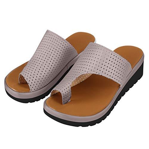 JiaMeng Damen Sandalen Bequeme Plattform Zehentrenner Leder Flach Schuhe Badeschuhe Pantoletten Elegant Peep Toe Römische Schuhe Sandale Sommerschuhe