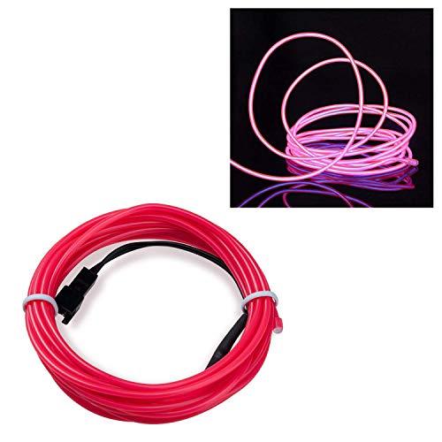 Kostüm Lichter Tron - SATISFIED EL Wire Neon Kabel, Pink 1M, LED Leuchtet Tron Electroluminescent, LED Blinkend, Weihnachten, Halloween Party, Kostüm Konzert Rave,Nachtclubs