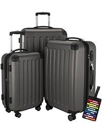 Hauptstadtkoffer® Set di valigie 49+82+128 litri con un lucchetto TSA Seria SPREE (Colore Grafite con 1 ciondolo per la valigia)