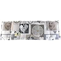 Körnerkissen Wärmekissen Dinkelkissen Herzen weiß / beige / grau 60x20 mit Schutzengel Schlüsselanhänger 100% Baumwolle
