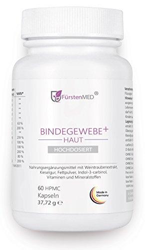 FürstenMED® Bindegewebe Kapseln + Straffe Haut - Anti Cellulite Orangenhaut - Hochdosiert mit OPC, Kieselgur, I3C, Ala, Biotin, Zink uvm. Vegan & Ohne Zusatzstoffe