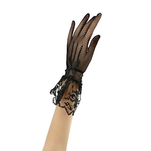 Gants de Mariage Courtes en Satin Accessoires Robe Mariage Mitaines Mariée/Soirée/Fête Gants Wedding de Dentelle Beau Elégant avez N½uds Papillon pour Femme Fille 1 Pair Noir+1 Pair Blanc