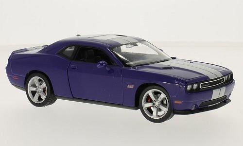 Dodge Challenger SRT, lilla/argento, 2012, modello di automobile, modello prefabbricato, Welly 1:24 Modello esclusivamente Da Collezione