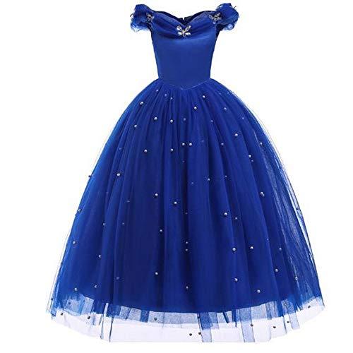 (Mädchen Prinzessin Cinderella Kostüm Kleid mit Perlenausschnitt Party Ballkleid Outfits für Kinder)