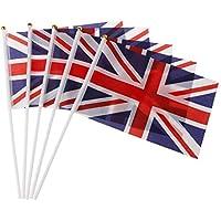SimpleLife 5pcs Union Jack Mano agitando Banderas de plástico Postes Royal Jubilee UK Banners