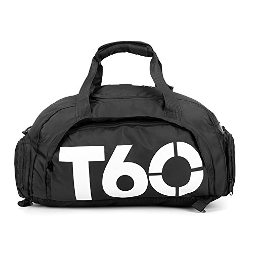 Obling 35L Sport Duffle Bag Unisex Groß Kapazität Gym Rucksack mit Fach für Schuhe, Unisex, schwarz mit weiß, 45 * 25 * 30 cm