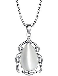 Arco Iris Jewelry Colgante de collar de la mujer de plata de ley con Ojo de gato en forma de pera simulado, cadena de veneciana, 46cm