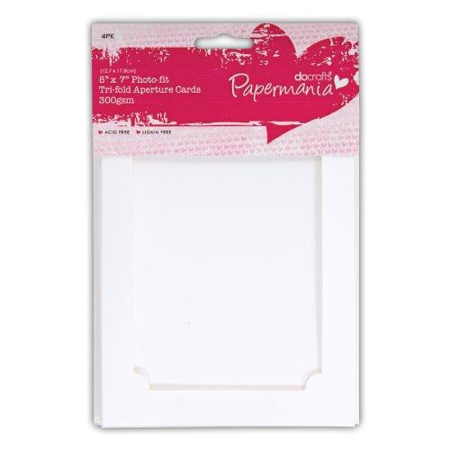 Papermania 7x 12,7cm 300gsm Fach Faltung Tri Fold Aperture Karten und Umschläge, 4Stück, Weiß (Tri-fold-karte)