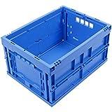 KLAPPBOX 20 LITER, kleine, stabile Faltbox Made in Germany, Kunststoff Transportkiste TÜV-Zert., Plastikbox, Transportbox, 40x30x22 cm, max. 25kg, Blau
