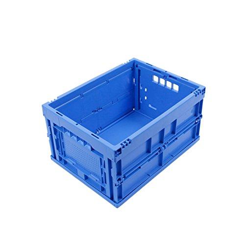 KLAPPBOX 20 LITER, kleine, stabile Faltbox Made in Germany, Kunststoff Transportkiste, Plastikbox, Transportbox, 40x30x22 cm, max. 25kg, Blau -