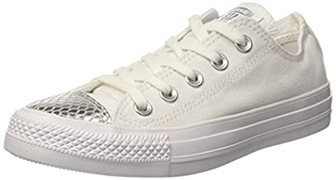Converse Damen All Star Metallic Toecap Sneakers, Weiß (White/Silver/White), 40 EU
