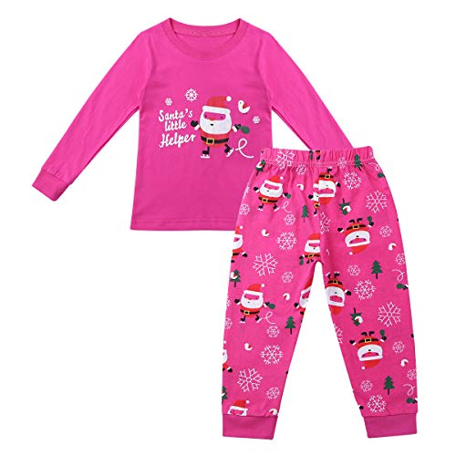 iEFiEL Jungen Mädchen Weihnachten Schlafanzug Baumwolle 2 Stück Pajama Sets Langarm Shirt + Hose Nachtwäsche Rose Rot 86-92 ()