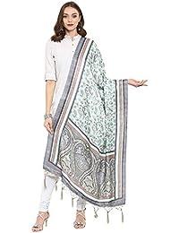AKHILAM Women's Pashmina Silk Winter Wear Dupatta Printed With Jhallar (freesize_Sea Green & Grey_PD03)