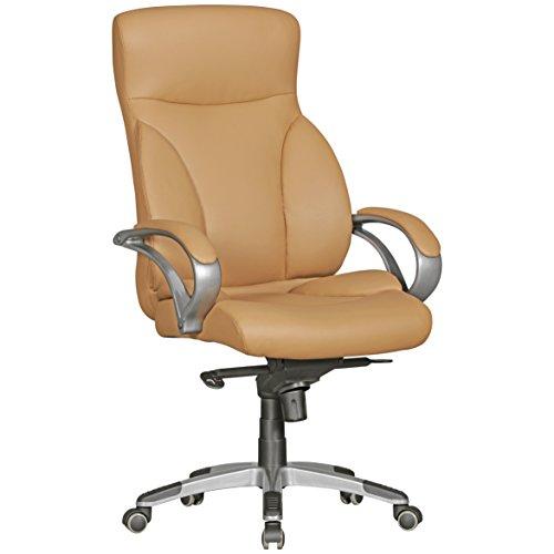 AMSTYLE Bürostuhl BERLIN XXL Kunst-Leder caramel 150 kg Belastbarkeit | Chefsessel mit Kopfstütze & Multiblockmechanik | Design Drehstuhl verstellbar | Schreibtisch-Stuhl hohe Rückenlehne