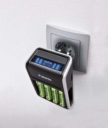 Varta LCD Plug Ladegerät (geeignet für AA/AAA/9V und USB-Geräte inkl. 4x AA 2100 mAh) schwarz - 3