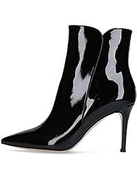 VOCOSI Damen Geschlossene Spitze Booties Stilettos High Heels Kleid Stiefeletten Schuhe  40 EURot