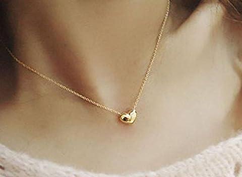 Bovake Mode Frauen Gold Herz Bib Aussage Kette Anhänger Halskette Schmuck