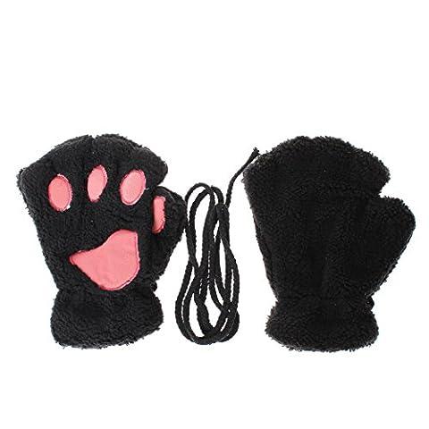 Winter-Frauen des Bären-Katzen-Tatzen-Handschuh Warm Furry thicking halbe Fingerhandschuhe 4 Farben (schwarz)