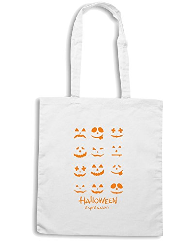 T-Shirtshock - Borsa Shopping T0354 HALLOWEEN EXPRESSION festivita Bianco