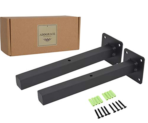 Soportes flotantes para estante industrial, color negro, montaje en pared, incluye tornillos...
