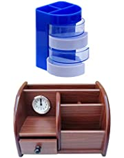 Panku Wooden Pen Stand,Pencil Stand,Pen Holders,Pencil Holder for Office Table/Study Table/Office Desk/Office Stationery/Study Material Brown Pack of 2